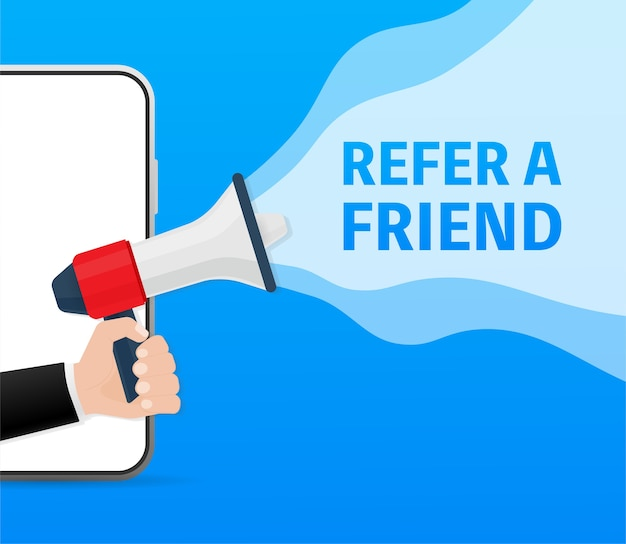 Template with blue refer a friend hand holding megaphone on red background for flyer .  illustration in  .