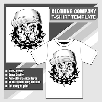 Template with bulldog wearing cap
