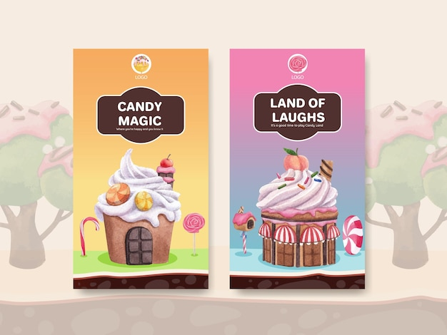 Template with candy land concept design