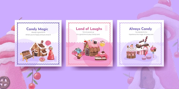 Template with candy land concept