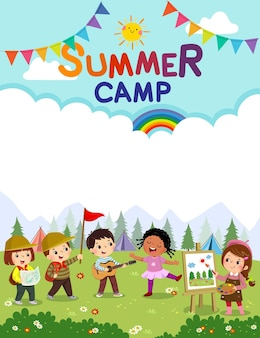 Template with cartoon of children doing activities on camping. kids summer camp poster.