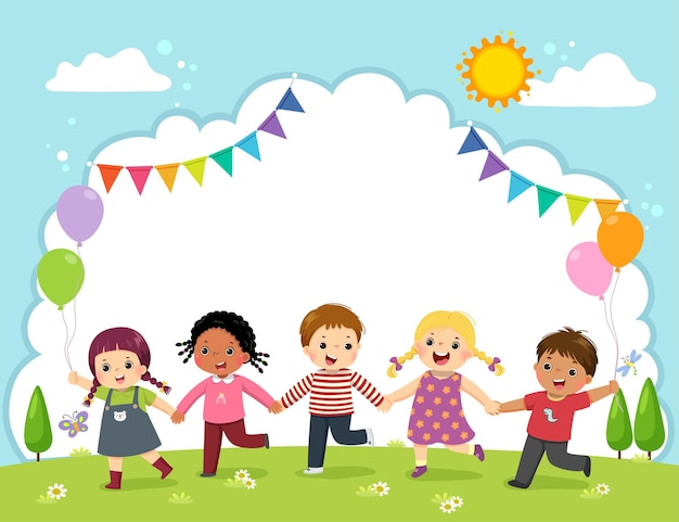 Template with cartoon of happy kids holding hands on the field.