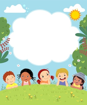 Template with cartoon of happy kids laying on the grass.