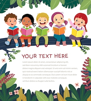 Template with cartoon of happy kids on the tree branch reading book.