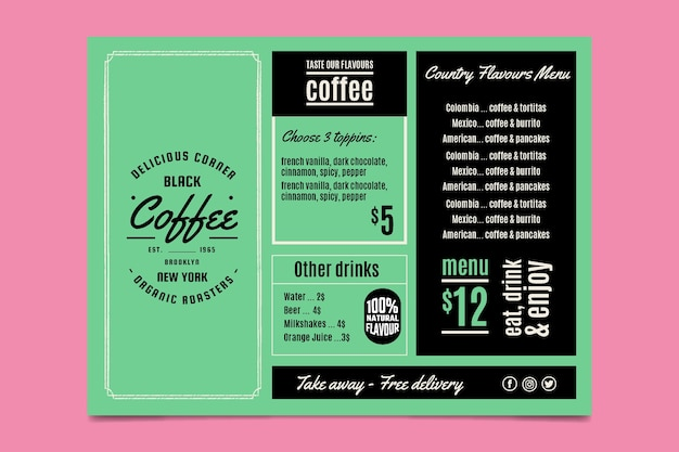 Template with colorful design for restaurant menu