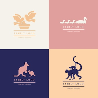 Template with family of animals logo