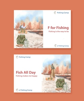 Template with fishing camp concept, watercolor style