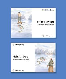 Шаблон с концепцией рыболовного лагеря, акварельный стиль