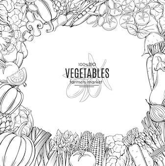手描きの野菜を持つテンプレート