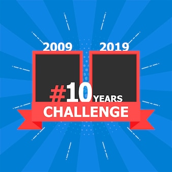 Template with hashtag 10 years challenge concept. lifestyle before and after ten years. vector stock illustration.