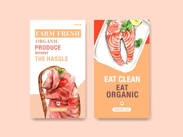 Modello con design di alimenti sani e biologici per social media, acquerello