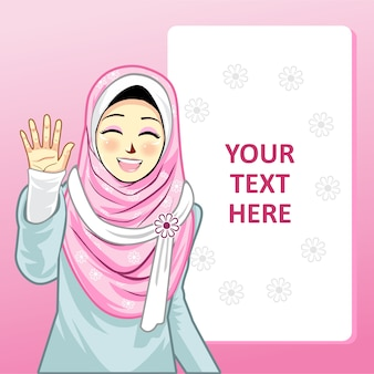 Template with hijab girl