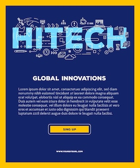 Template with illustration of hitech word lettering typography with line icons on blue background. business innovation technology .