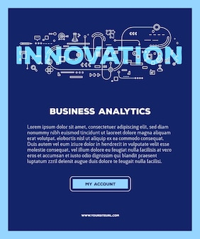 Шаблон с иллюстрацией новаторства слово буквами типографии с иконками линии на синем фоне. инновационные технологии.