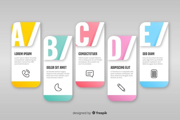 Infographic 단계 컬렉션이있는 템플릿
