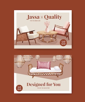 소셜 미디어 및 온라인 마케팅 수채화 벡터 일러스트 레이 션을위한 jassa 가구 컨셉 디자인 템플릿