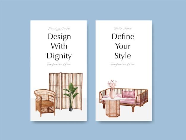 ソーシャルメディアとオンラインマーケティングの水彩ベクトル図のjassa家具コンセプトデザインのテンプレート
