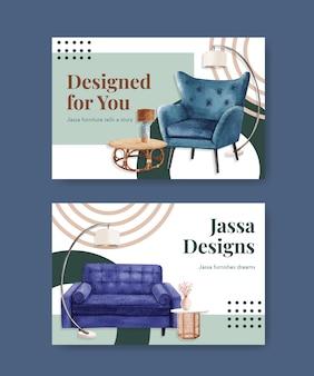 Template with jassa furniture concept design for social media and online marketing watercolor vector illustration