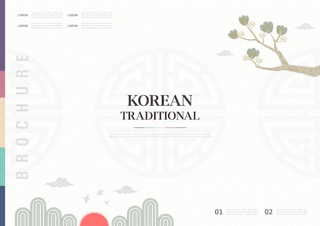 Template with korean tradition pattern background brochure