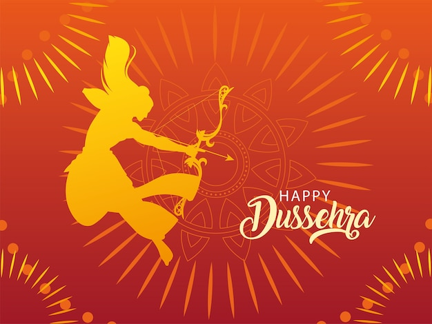 Template with lord rama, label happy dussehra