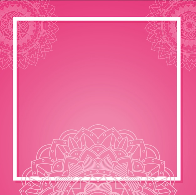 Template with mandala banners