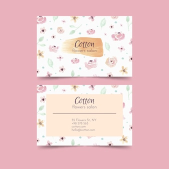Template with natural motif for business cards
