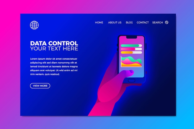 Template with neon landing page with phone