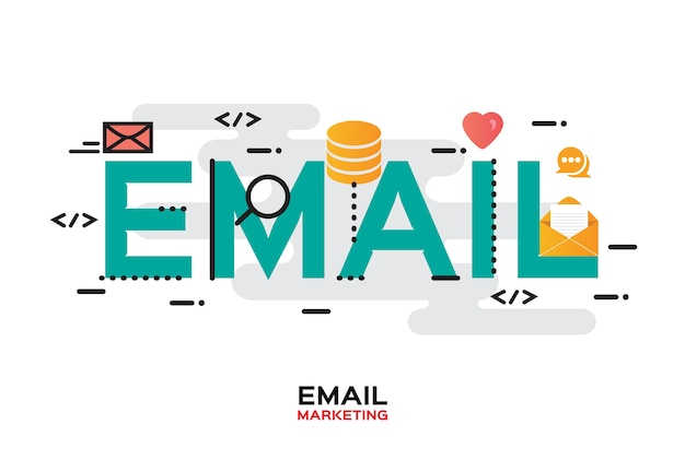 Template with outline icons of e-mail marketing