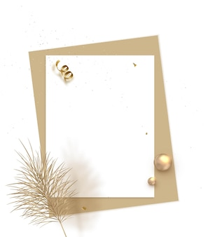 Template with paper sheets and dry reeds summer seasonal sale blank