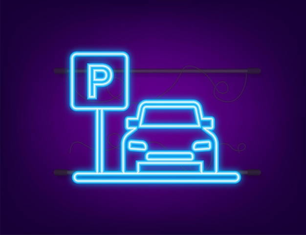 Template with parking. logo, icon, label. parking on white background. neon icon. web element. vector stock illustration.