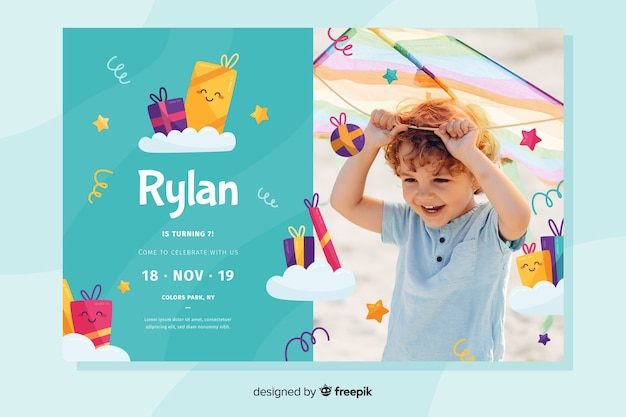 Template with photo for children birthday invitation