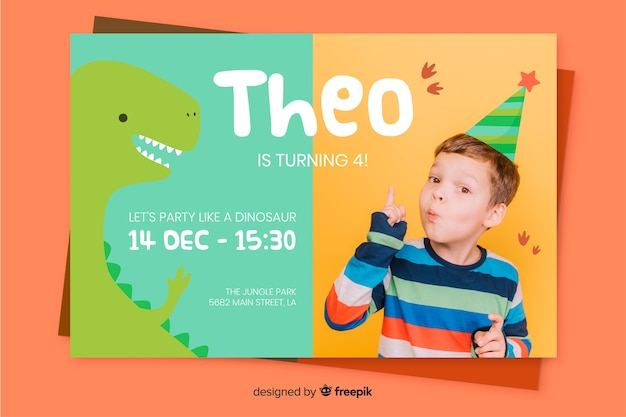 Template with picture for childrens birthday invitation