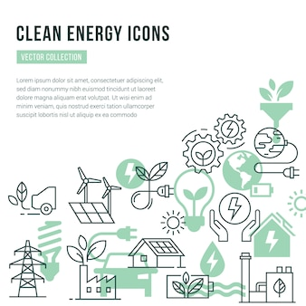 Template with place for text and isolated icons set on the theme of green energy