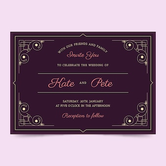 Template with retro concept for wedding invitation