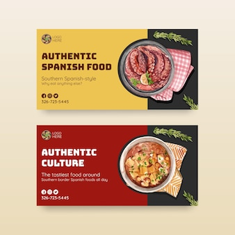 ソーシャルメディアの水彩イラストのスペイン料理のコンセプトデザインのテンプレート