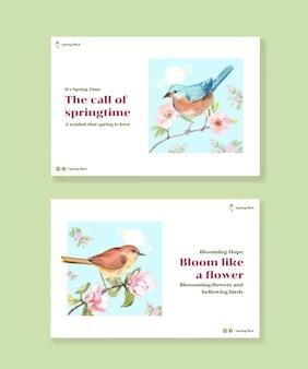 ソーシャルメディアとコミュニティの水彩イラストの春と鳥のコンセプトデザインのテンプレート