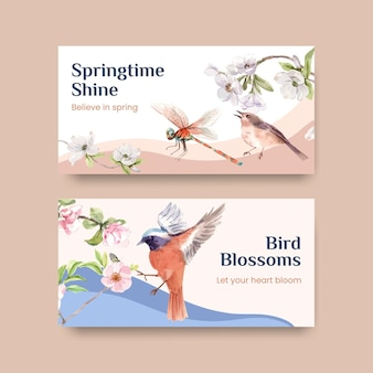 Template with spring and bird concept design for social media and community watercolor illustration Free Vector