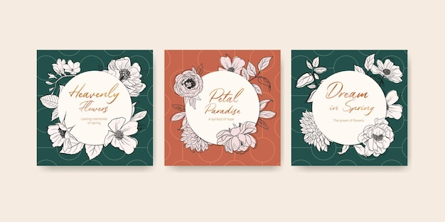 Template with spring line art concept design watercolor banner