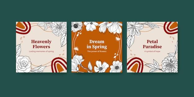 Modello con la bandiera dell'acquerello di disegno di concetto di arte di linea di primavera