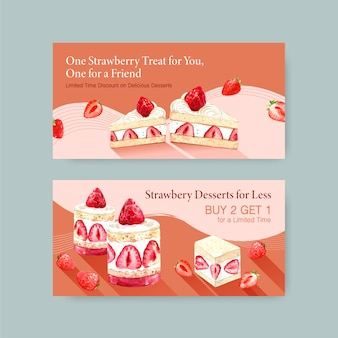 Template with strawberry baking design social media, online community and internet watercolor illustration