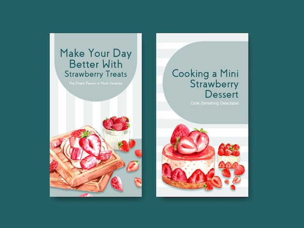Template with strawberry baking design for social media, online community with waffles and cheesecake watercolor illustration