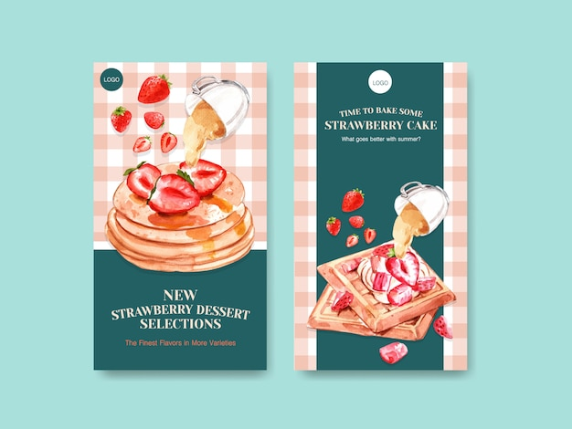 Template with strawberry baking design for social media with waffles and pancake watercolor illustration