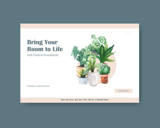소셜 미디어, 인터넷, 웹, 온라인 커뮤니티를위한 여름 식물 디자인 템플릿 및 수채화 그림 광고