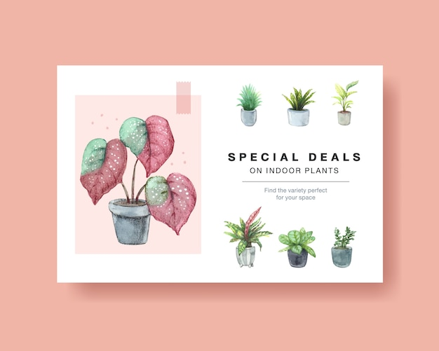 Template with summer plants design for social media, internet, web, online community and advertise watercolor illustration