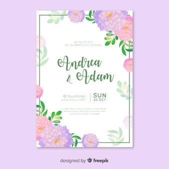Template with watercolor wedding invitation