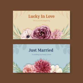ソーシャルメディアの水彩イラストの結婚式のコンセプトデザインのテンプレート