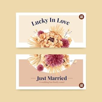 Modello con progettazione di massima di cerimonia di nozze per l'illustrazione dell'acquerello dei social media