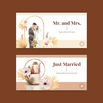 Template with wedding ceremony concept design for social media watercolor illustration
