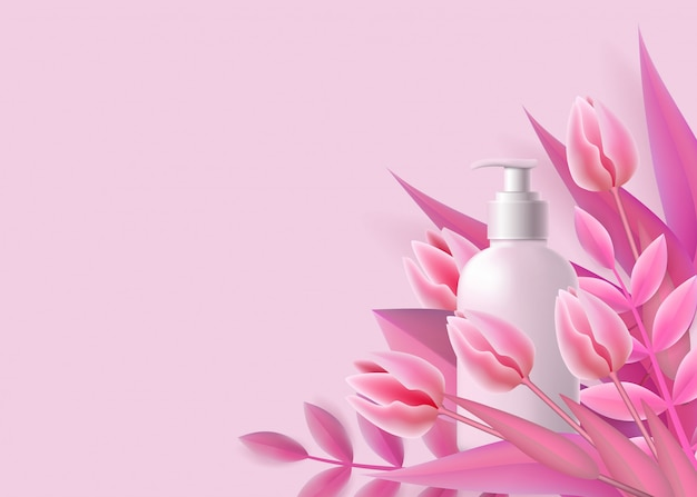 Template with white dispenser bottle  and pink flowers realistic style