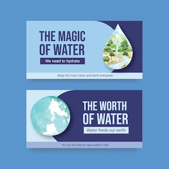 Шаблон с концептуальным дизайном всемирного дня воды для социальных сетей и сообщества акварель векторные иллюстрации
